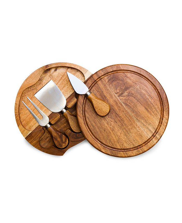 Picnic Time - Acacia Brie Cheese Cutting Board & Tools Set