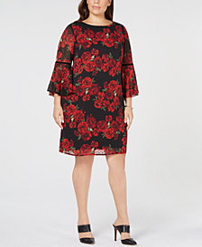 Jessica Howard Plus Size Bell-Sleeve Floral Shift Dress