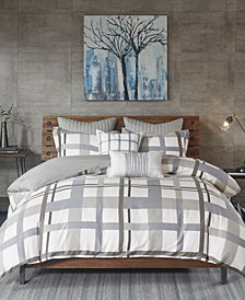 INK+IVY Sterling Plaid 3-Pc. Full/Queen Cotton Sateen Duvet Cover Mini Set