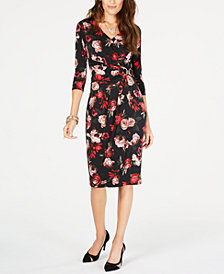 Thalia Sodi Floral-Print Faux-Wrap Dress, Created for Macy's