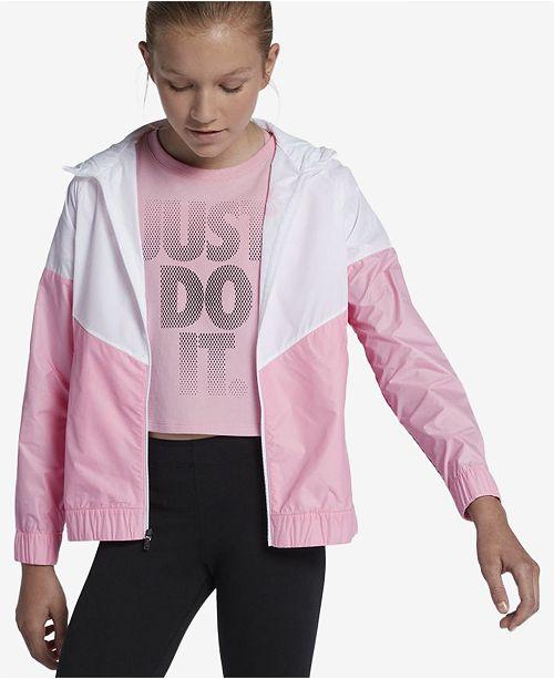 ea96cdfaf00d4 Nike Big Girls Sportswear Windrunner Hooded Jacket & Reviews ...