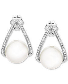 Cultured Freshwater Pearl (8-1/2mm) & Diamond (1/10 ct. t.w.) Drop Earrings in Sterling Silver