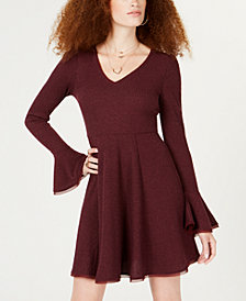 American Rag Juniors' Ribbed Bell-Sleeve Dress, Created for Macy's