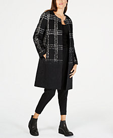 Eileen Fisher Wool Blend Plaid Ombré Long Jacket