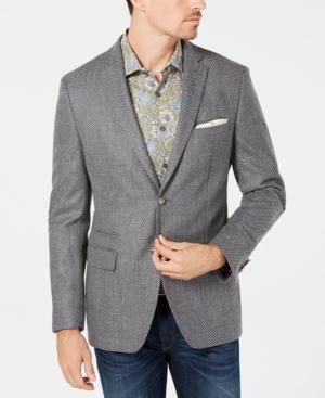 Tallia Orange Men's Big & Tall Slim-Fit Gray Birdseye Wool Sport Coat