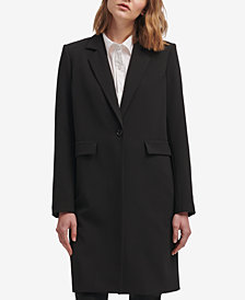DKNY Long Single-Button Blazer