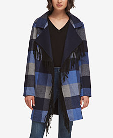 DKNY Plaid Fringe-Trim Jacket, Created for Macy's
