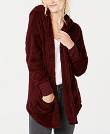 Hippie Rose Juniors' Plush Hooded Cardigan
