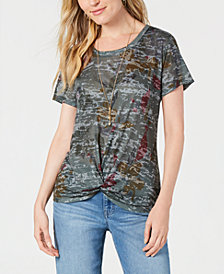 Style & Co Printed Twist-Front T-Shirt, Created for Macy's