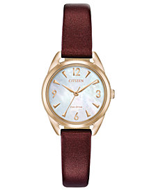 Citizen Drive from Citizen Eco-Drive Women's Purple Vegan Leather Strap Watch 27mm