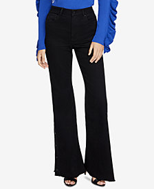 RACHEL Rachel Roy Button Embellished Wide-Leg Jeans, Created for Macy's