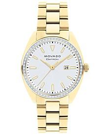 Women's Swiss Heritage Series Datron Diamond (1/4 ct. t.w.) Pale Gold-Tone Stainless Steel Bracelet Watch 31mm