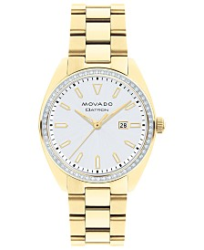 Movado Women's Swiss Heritage Series Datron Diamond (1/4 ct. t.w.) Pale Gold-Tone Stainless Steel Bracelet Watch 31mm