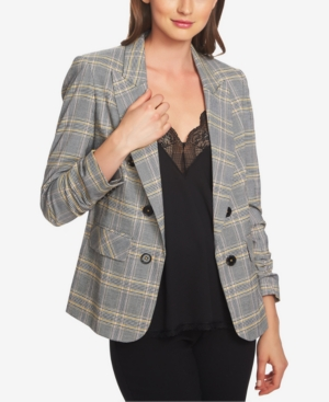 Vintage Coats & Jackets | Retro Coats and Jackets 1.state Ruched-Sleeve Plaid Blazer $139.00 AT vintagedancer.com