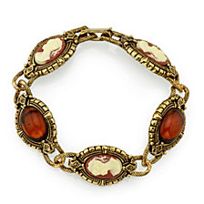 2028 Gold-Tone Brown and Simulated Dark Orange Cameo Bracelet