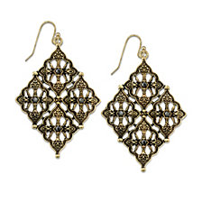 2028 Gold-Tone Diamond Shaped Earrings