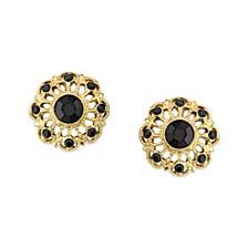Gold-Tone Jet Filigree Button Earrings