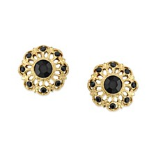 2028 Gold-Tone Jet Filigree Button Earrings