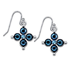 2028 Silver-Tone Dark and Light Blue Crystal Flower Earrings
