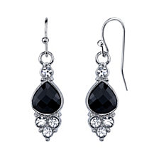 2028 Silver-Tone Black and Crystal Accent Petite Drop Earrings
