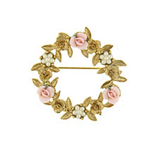 2028 Gold-Tone Pink Porcelain Rose Wreath Brooch