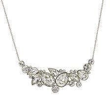 "2028 Silver-Tone Genuine Swarovski Cluster Crystal Necklace 16"" Adjustable"