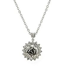 "Silver-Tone Crystal Flower Pendant Necklace 16"" Adjustable"
