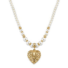 """2028 Gold-Tone Simulated Pearl with Filigree Puff Heart Pendant Necklace 18"""""""
