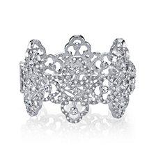 2028 Silver Tone Crystal Filigree Magnetic Cuff Bracelet