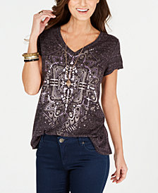 Style & Co Medallion-Print T-Shirt, Created for Macy's