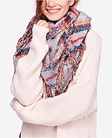 Free People Plaid Fringe Bandana Scarf