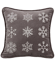 "Square Embroidered Snowflake 18""x18"" Pillow"