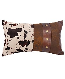 """Cowhide and Faux Leather 11""""x18"""" Pillow"""