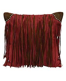 "Fringed Faux Suede 18""x18"" Pillow"