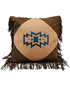 "18""x18"" Southwest Emblem Pillow with Fringe"