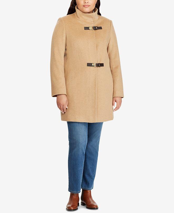 Lauren Ralph Lauren Plus Size Mockneck Buckle-Front Coat, Created for Macy's