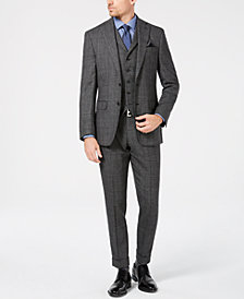 Tallia Men's Slim-Fit Charcoal Plaid Wool Suit Separates