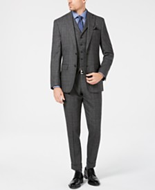 Tallia Men's Slim-Fit Charcoal Plaid Wool Suit Separates