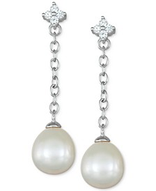 Cultured Freshwater Pearl (8mm) & Cubic Zirconia Flower Chain Earrings in Sterling Silver