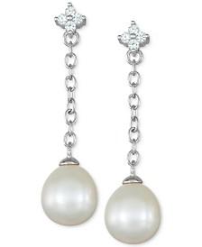 Cultured Freshwater Pearl (8mm) & Cubic Zirconia Flower Chain Earrings in Sterling Silver
