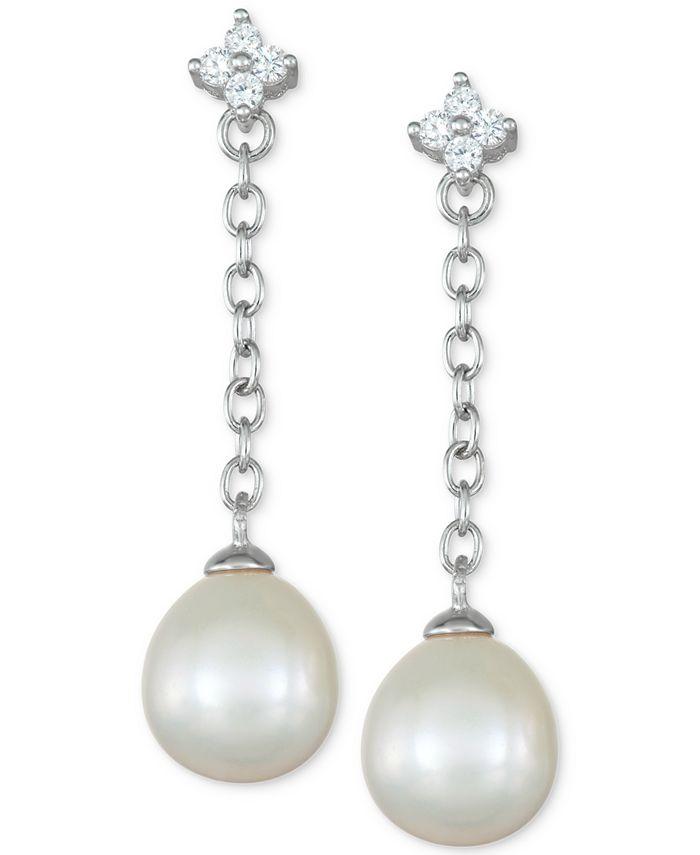 Macy's - Cultured Freshwater Pearl (8mm) & Cubic Zirconia Flower Chain Earrings in Sterling Silver