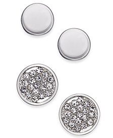 Alfani Silver-Tone 2-Pc. Set Pavé Stud Earrings, Created for Macy's