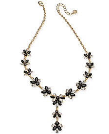 "Charter Club Gold-Tone Crystal & Stone Lariat Necklace, 17"" + 2"" extender, Created for Macy's"