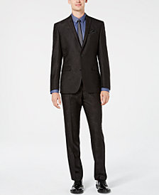 Bar III Men's Slim-Fit Black Jacquard Suit Separates, Created for Macy's
