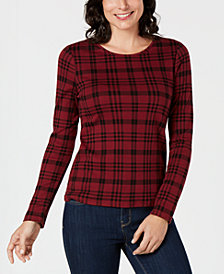 Charter Club Cotton Plaid Top, Created for Macy's
