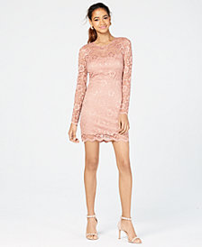Speechless Juniors' Long-Sleeve Lace Dress, Created for Macy's