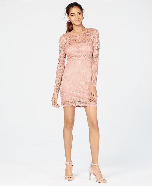 28e1a5040b3059 ... Speechless Juniors  Long-Sleeve Lace Dress