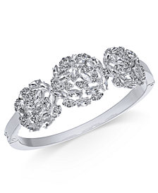 Charter Club Silver-Tone Crystal Cluster Bangle Bracelet, Created for Macy's