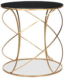 Cagney Glass Top Round Accent Table, Quick Ship
