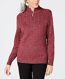 Petite Cotton Half-Zip Sweater, Created for Macy's